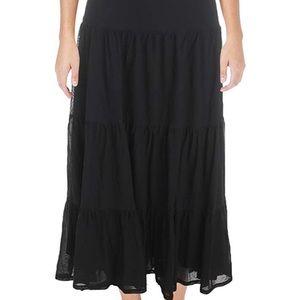 Lauren Ralph Lauren Black Tiered Maxi Skirt